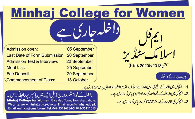 M Phil Admission Open Minhaj College for Women Minhaj University Lahore