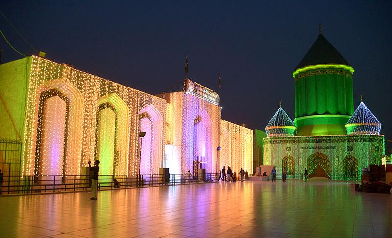 Minhaj-ul-Quran International Central Secretariat decorated with lights