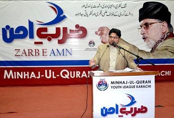 Dr Hussian Mohi-ud-Din Qadri launches Zarb-e-Amn drive in Karachi